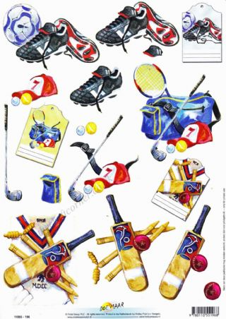Football, Golf & Cricket Equipment 3d Decoupage Sheet